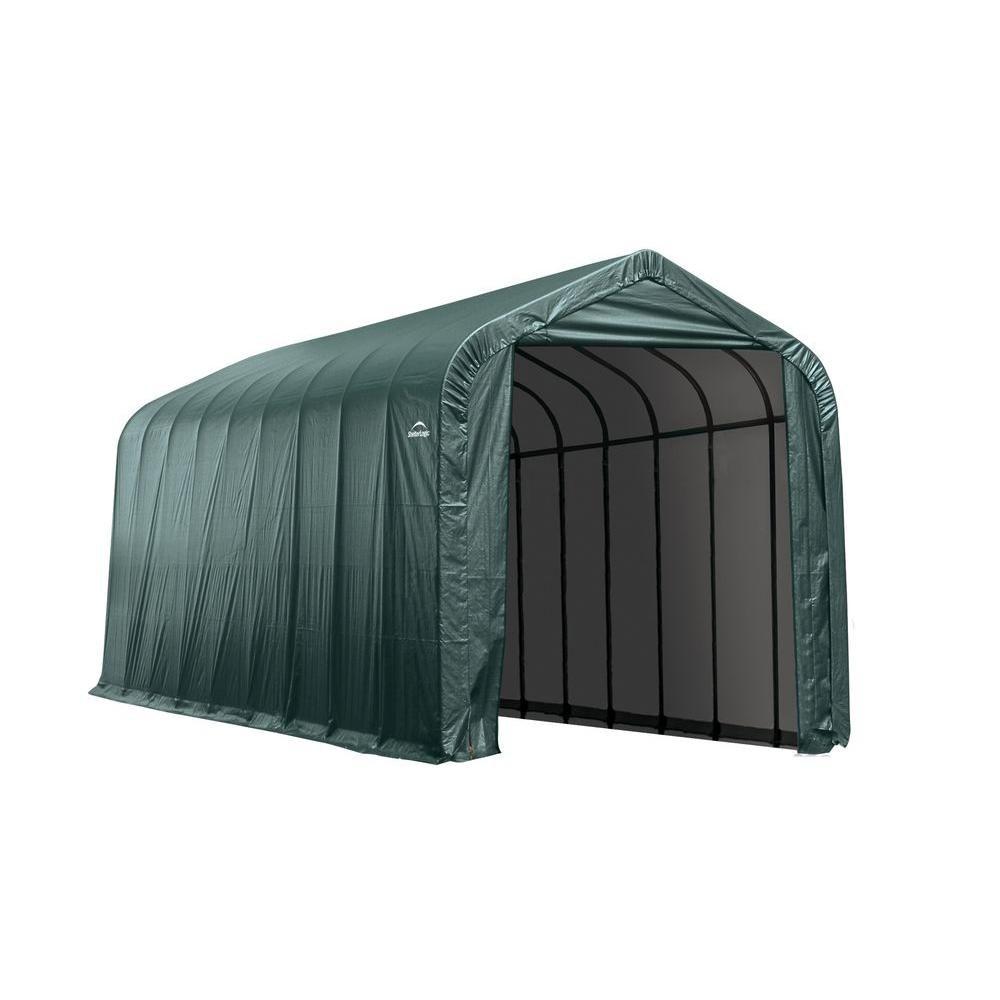 ShelterLogic 14 ft. x 36 ft. x 16 ft. Peak Style Shelter in Green