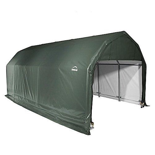 12 ft. x 28 ft. x 11 ft. Barn Shelter with Green Cover