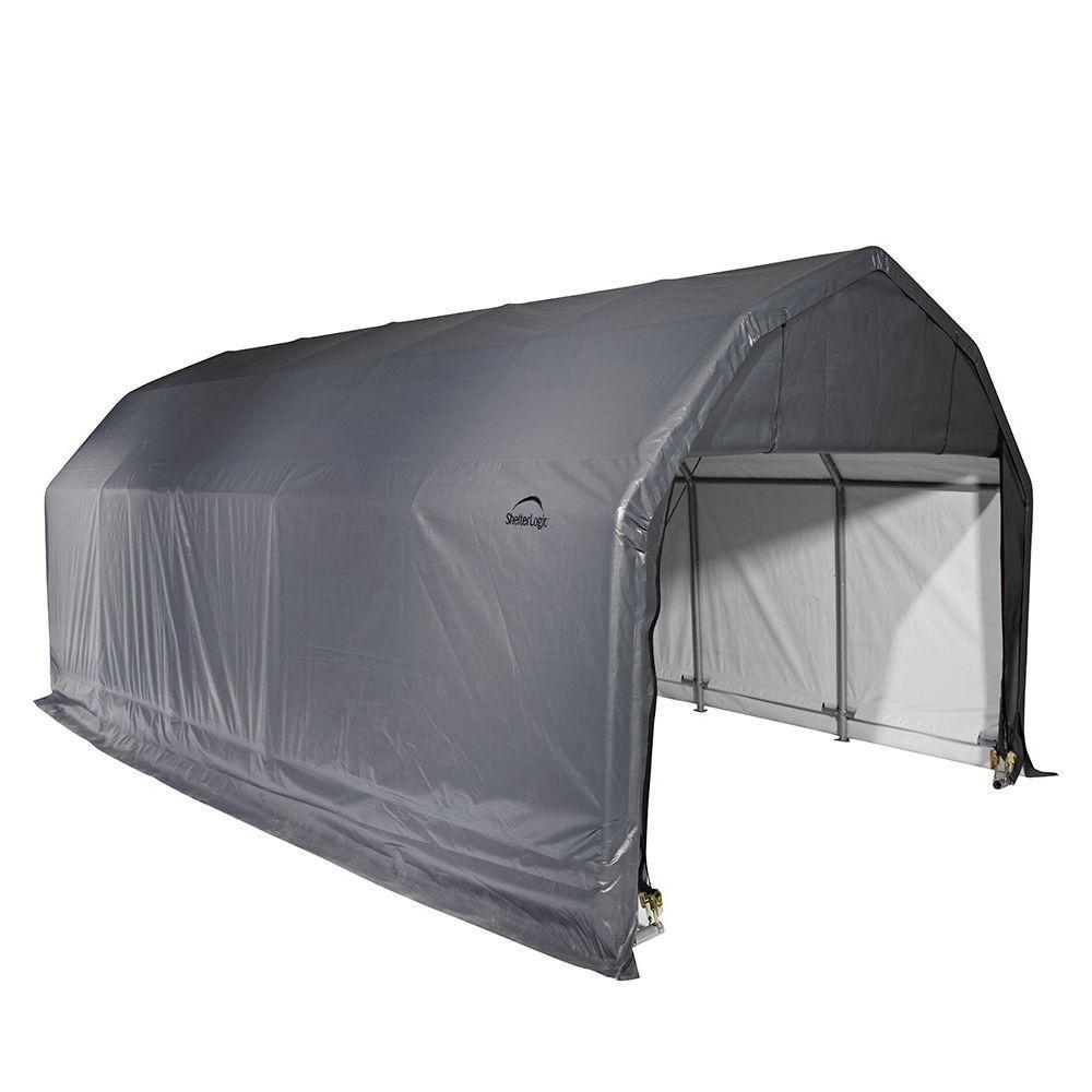 Grey Cover Barn Shelter - 12 Feet x 28 Feet x 11 Feet 90253 Canada Discount