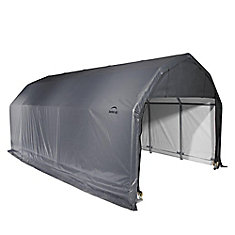 12 ft. x 28 ft. x 11 ft. Barn Shelter with Grey Cover