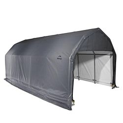 ShelterLogic 12 ft. x 28 ft. x 11 ft. Barn Shelter with Grey Cover