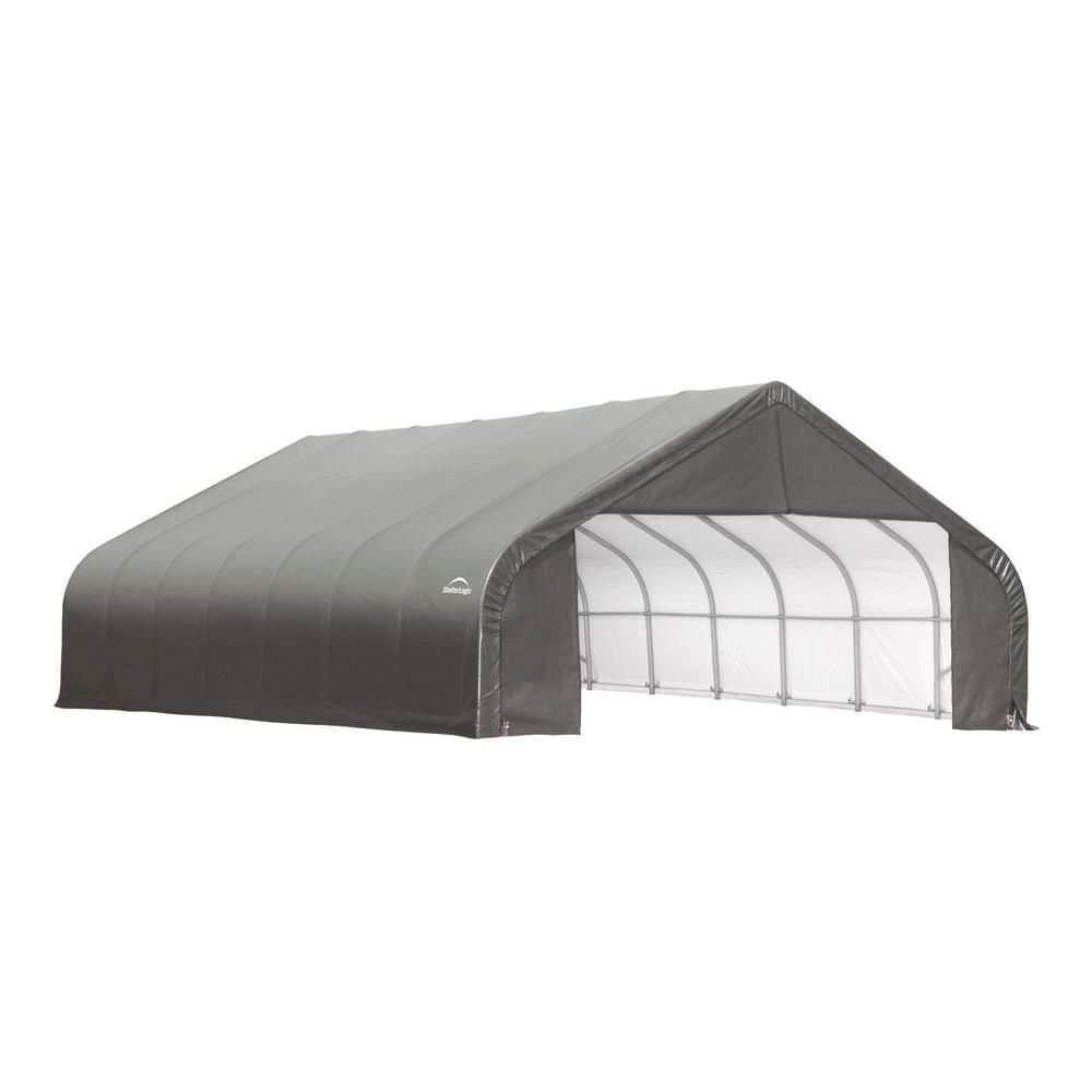 30 ft. x 28 ft. x 16 ft. Peak Style Shelter with Grey Cover