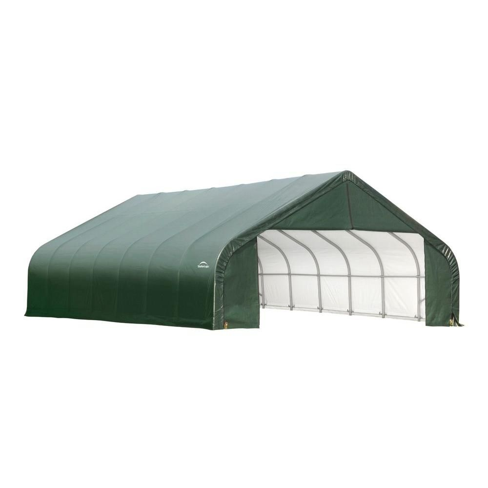 30 ft. x 24 ft. x 20 ft. Peak Style Shelter with Green Cover