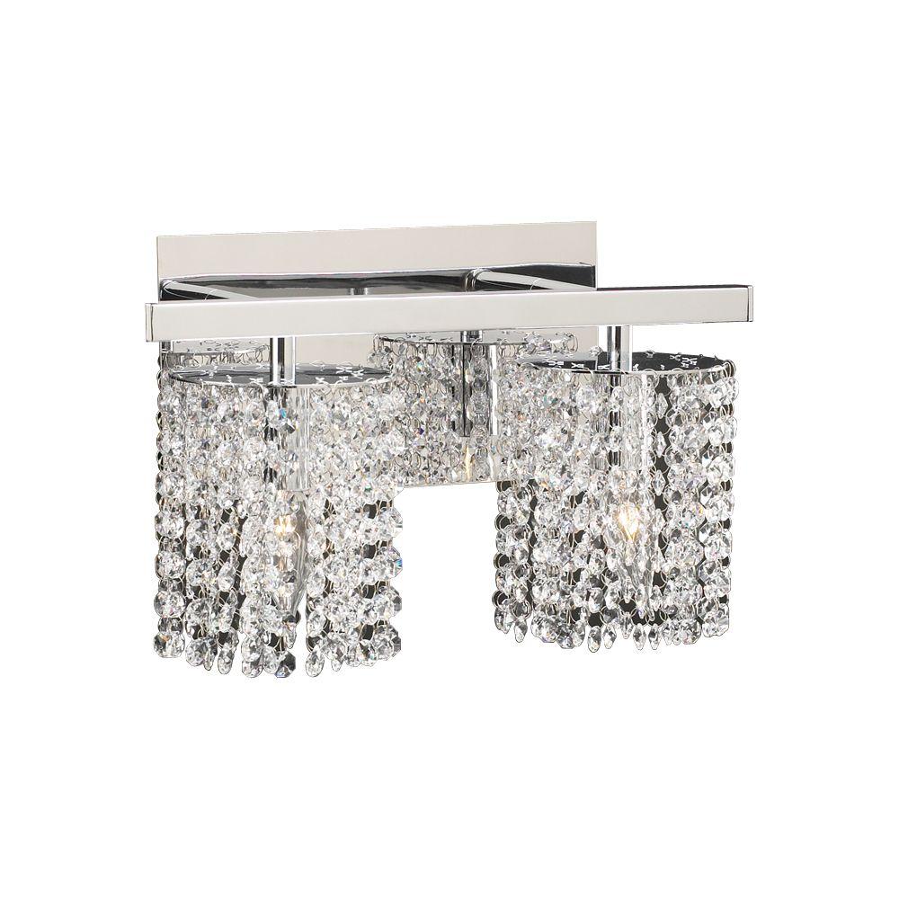 Lumière fixée au mur à deux ampoules avec abat-jour clair, finition de spécialité