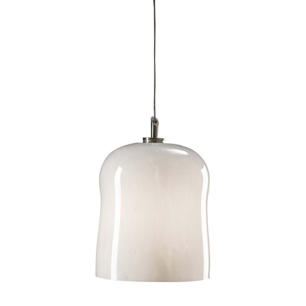 1 lumière lampe suspendue avec verre blanc et brossé finition nickel