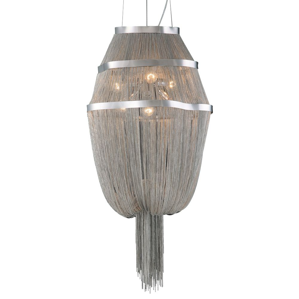 Contemporary Beauty 6 Light Chandelier with and Satin Nickel Finish