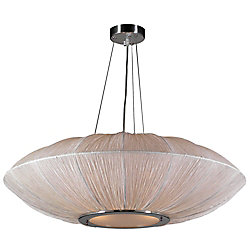 Contemporary Beauty 4 Light Pendant with Ivory Silk Shade Glass and Ivory Finish