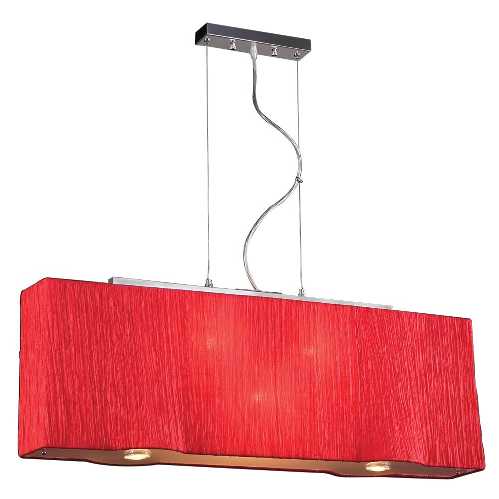 Contemporary Beauty 5 Light Pendant with Red Silk Shade Glass and Red Finish