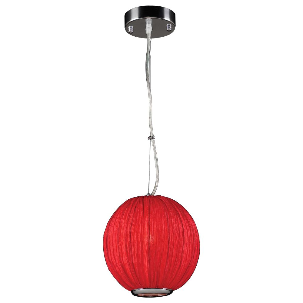 Contemporary Beauty 1 Light Pendant with Red Silk Shade Glass and Red Finish
