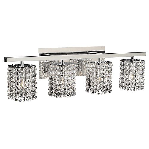Contemporary Beauty 4 Light Bath Light with Clear Glass and Polished Chorme Finish