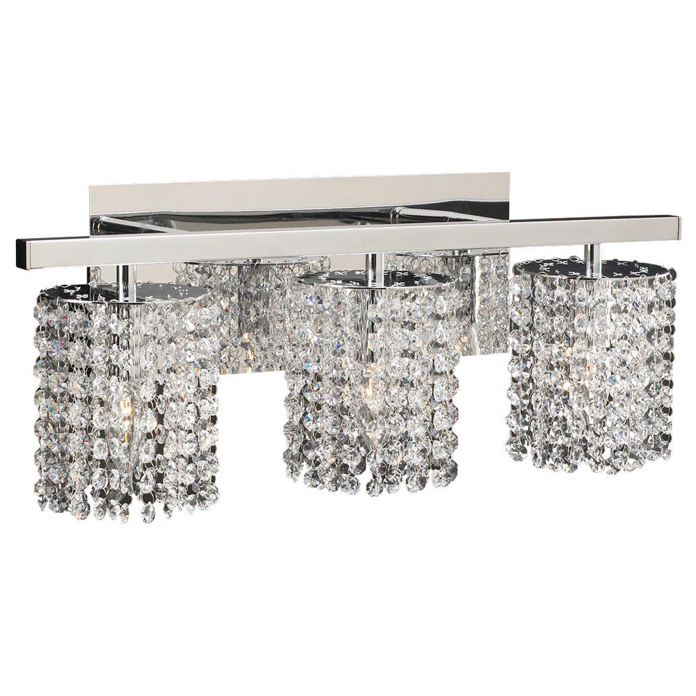 Lumière fixée au mur à trois ampoules avec abat-jour clair, finition de spécialité