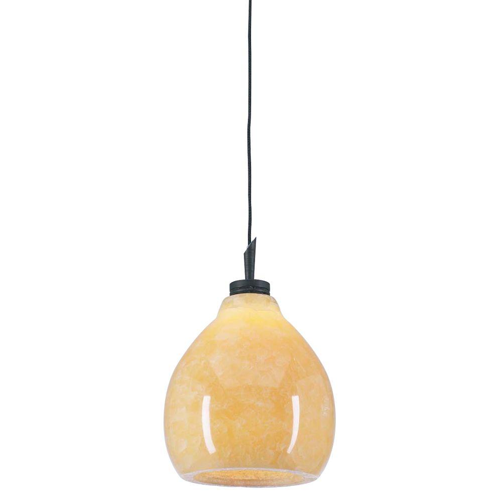 Lustre à une ampoule avec abat-jour de spécialité, Fini bronze