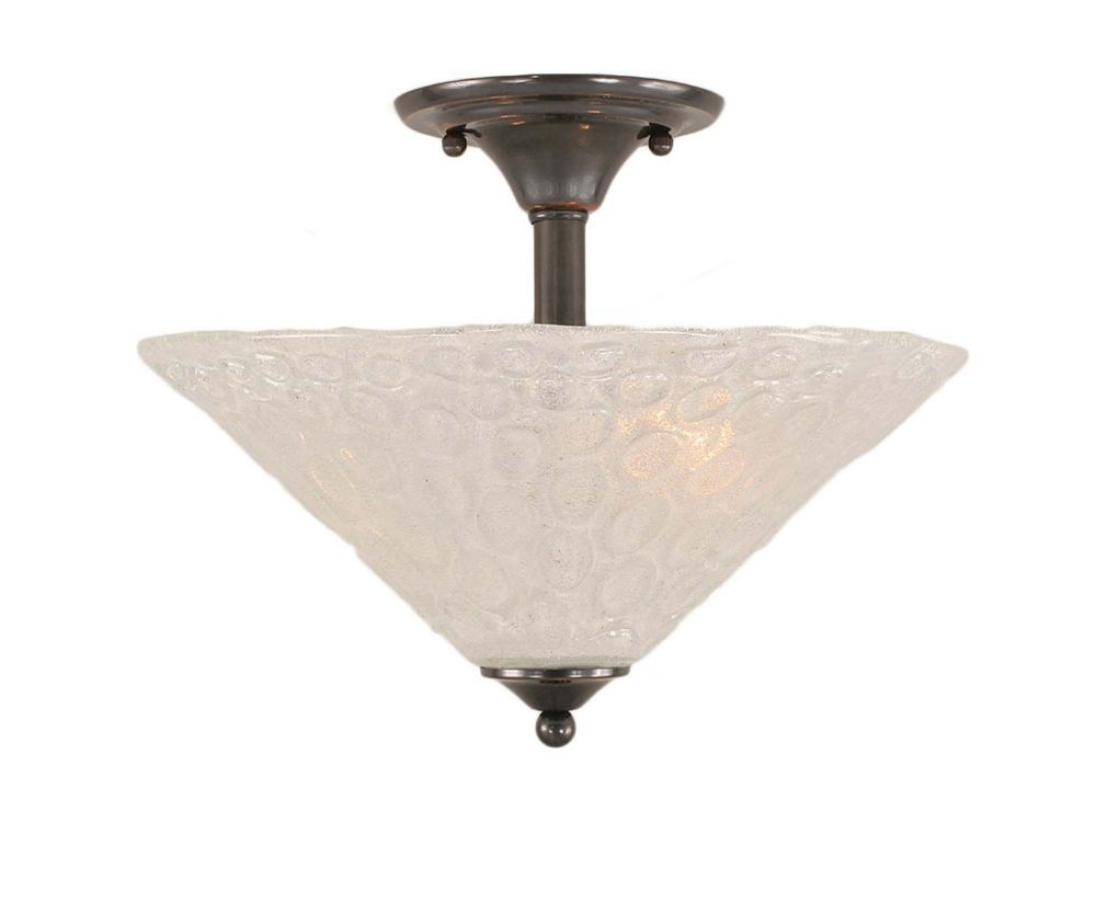 Concord 2-Light Ceiling Black Copper Semi Flush with a Clear Crystal Glass