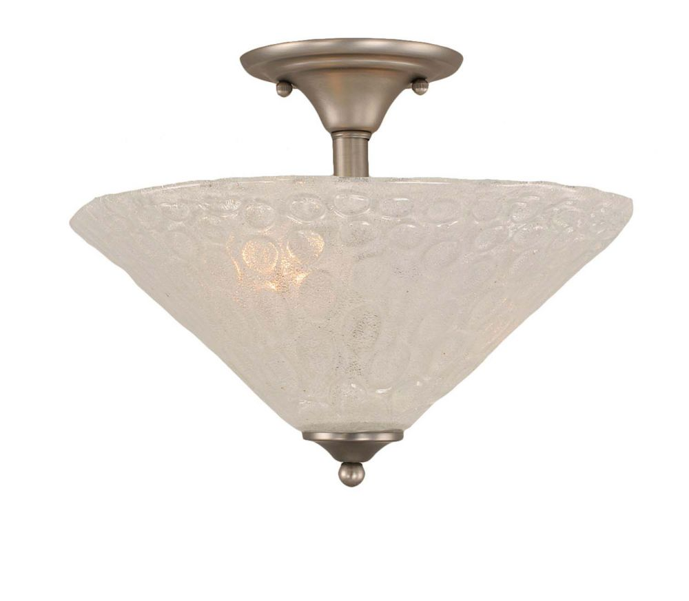 Concord 2-Light Ceiling Brushed Nickel Semi Flush with a Clear Crystal Glass