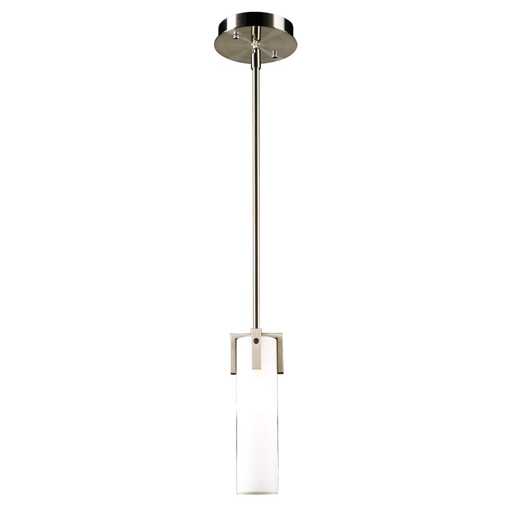 1 Light Mini Pendant with Matte Opal Glass and Satin Nickel Finish