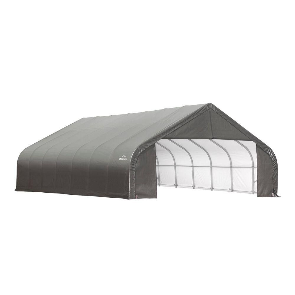 30 ft. x 24 ft. x 16 ft. Cover Peak Style Shelter in Grey