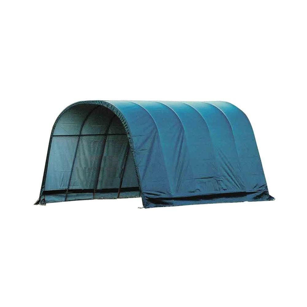 Green Cover Round Style Run-In Shelter - 12 Feet x 20 Feet x 10 Feet 51351 Canada Discount
