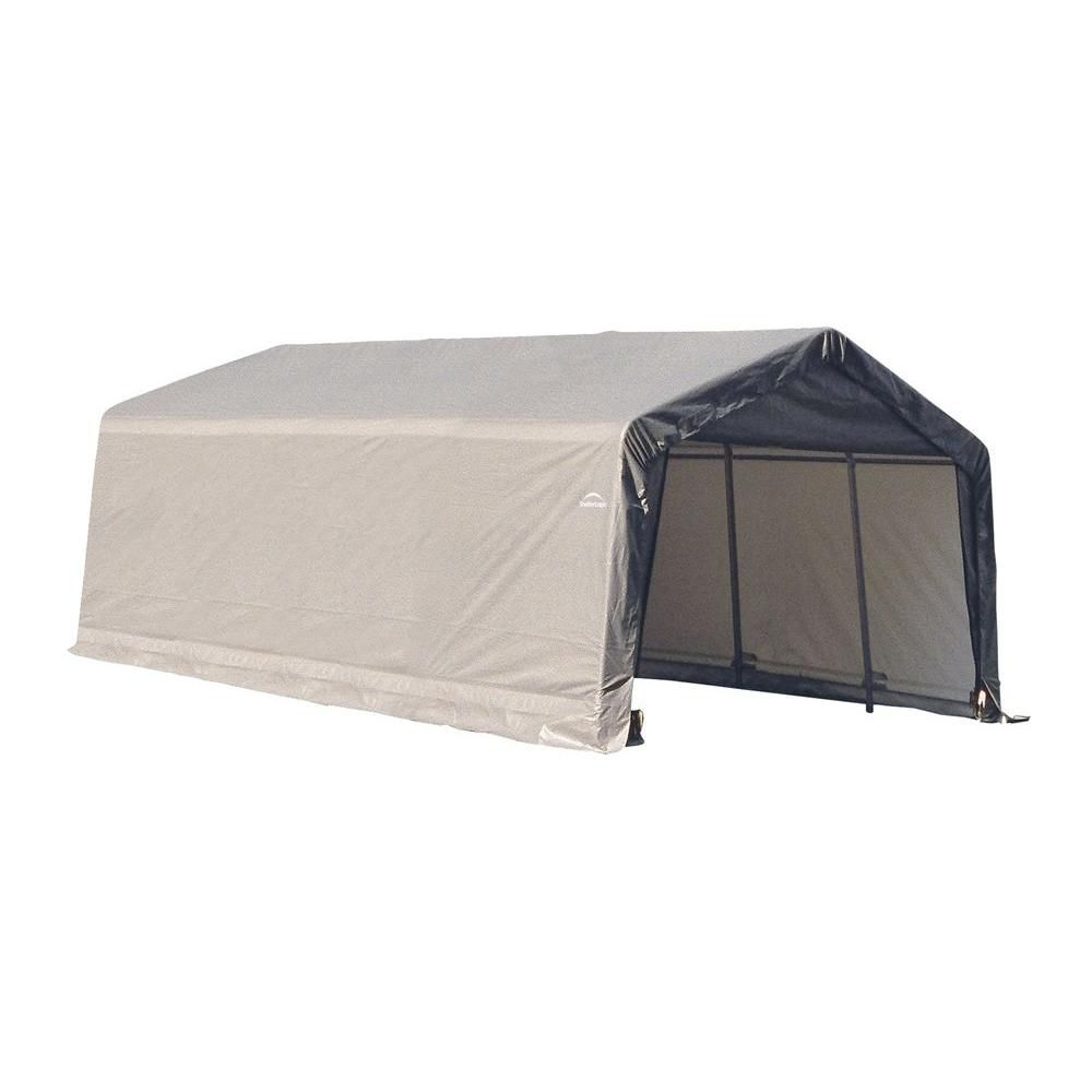 Grey Cover Peak Style Shelter - 13 Feet x 20 Feet x 10 Feet