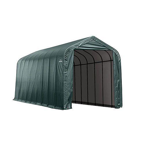 ShelterLogic 14 ft. x 40 ft. x 16 ft. Peak Style Shelter in Green