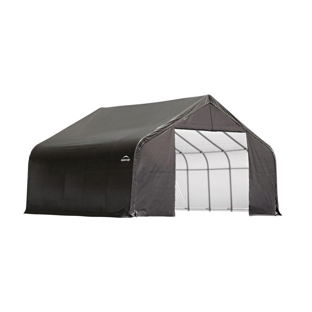 Grey Cover Peak Style Shelter -26 Feet x 24 Feet x 12 Feet 84027 in Canada