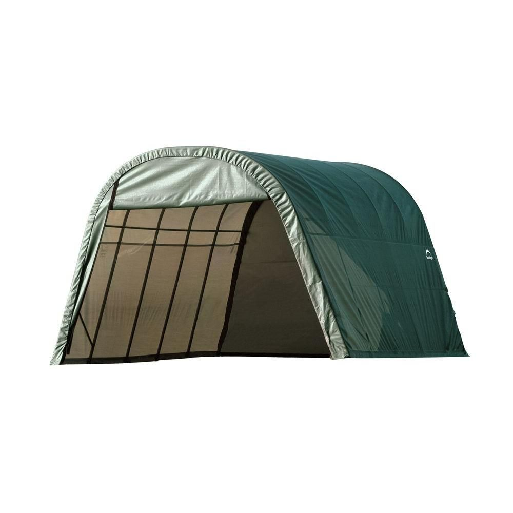 Green Cover Round Style Shelter - 13 Feet x 20 Feet x 10 Feet