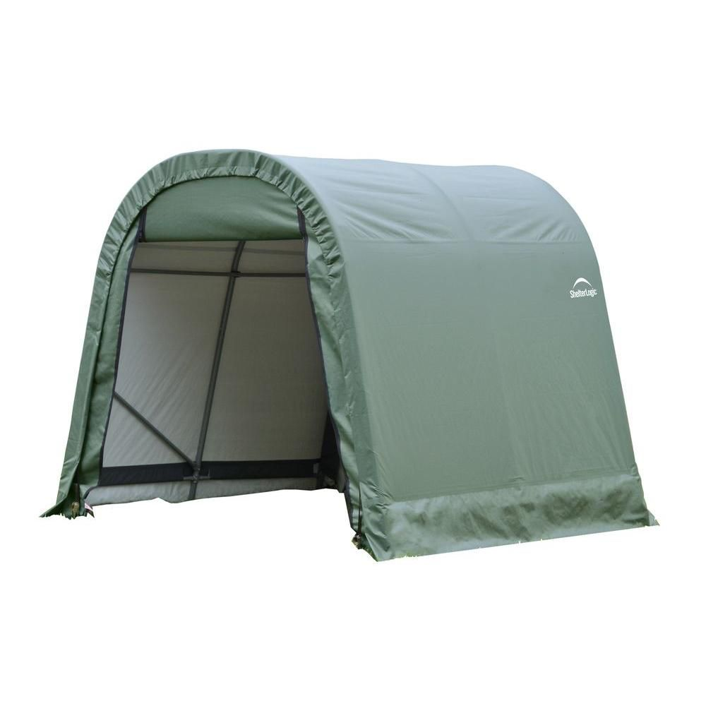 ShelterLogic 10 ft. x 12 ft. x 8 ft. Round Style Shelter with Green Cover