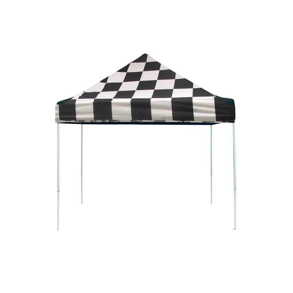 Pro Pop-Up Canopy, 10 x 10, Straight Leg, Checkered Flag Cover with Storage Bag