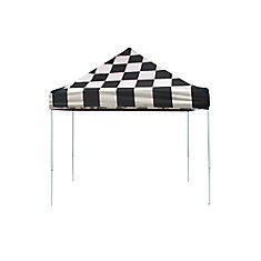 Pro 10 ft. x 10 ft. Pop-Up Canopy Straight Leg, Checkered Flag Cover with Storage Bag