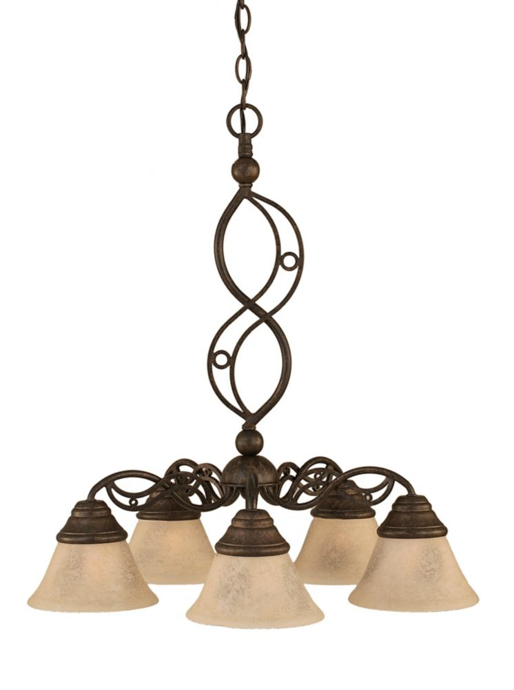 Concord 5 Light Ceiling Bronze Incandescent Chandelier with an Italian Marble Glass