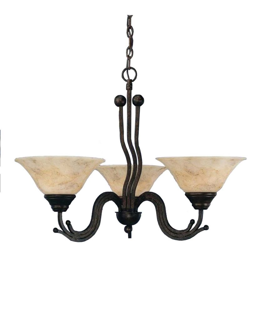 Concord 3-Light Ceiling Bronze Chandelier with an Italian Marble Glass