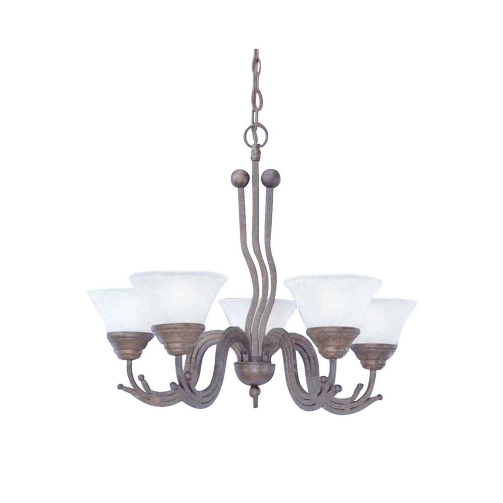 Concord 5-Light Ceiling Bronze Chandelier with a White Marble Glass