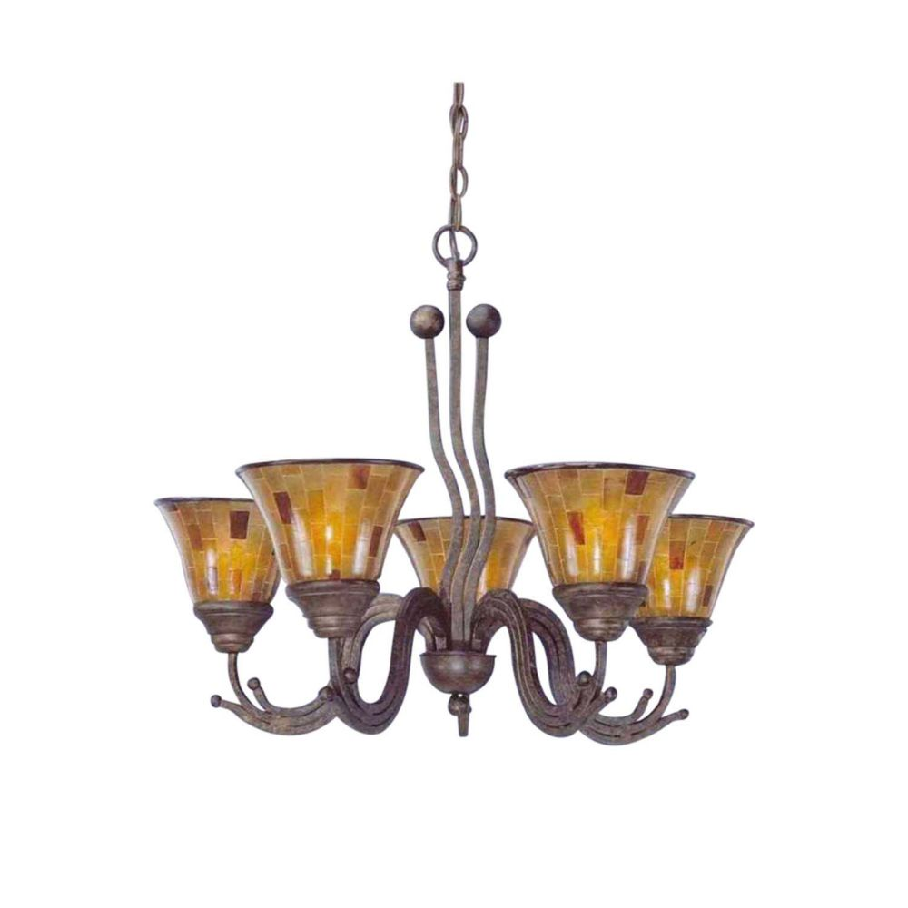 Concord 5 Light Ceiling Bronze Incandescent Chandelier with a Penshell Resin Glass