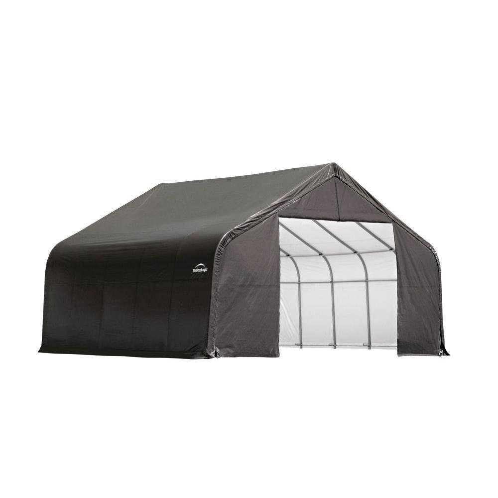 Grey Cover Peak Style Shelter - 26 Feet x 24 Feet x 16 Feet 84047 Canada Discount