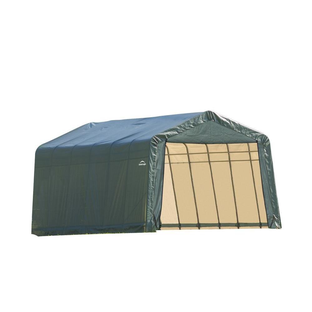 Green Cover Peak Style Shelter - 12 Feet x 28 Feet x 8 Feet