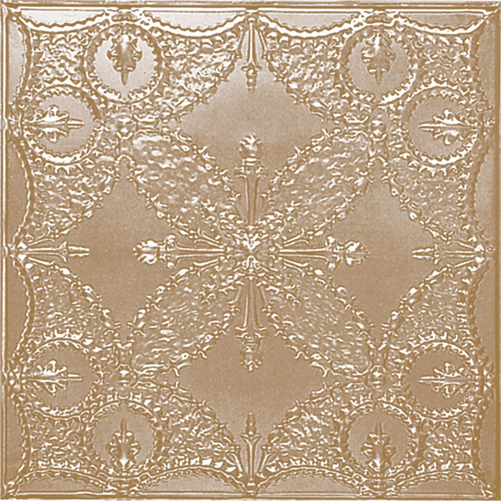 2 Feet x 2 Feet Brass Plated Steel Finish Lay-In Ceiling Tile  Design Repeat Every 24 Inches