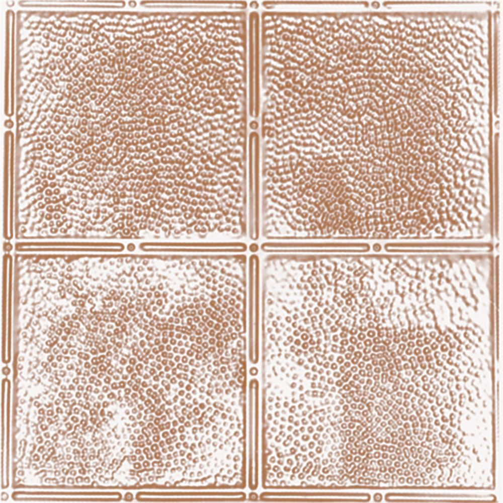 2 Feet x 2 Feet Copper Plated Steel Finish Lay-In Ceiling Tile  Design Repeat Every 12 Inches