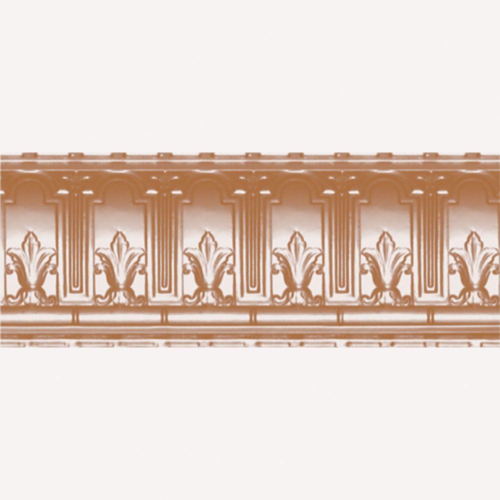 Corniche en acier plaqué cuivre, 9,5 po en saillie x 9,5 po profondeur x 4pi longueur
