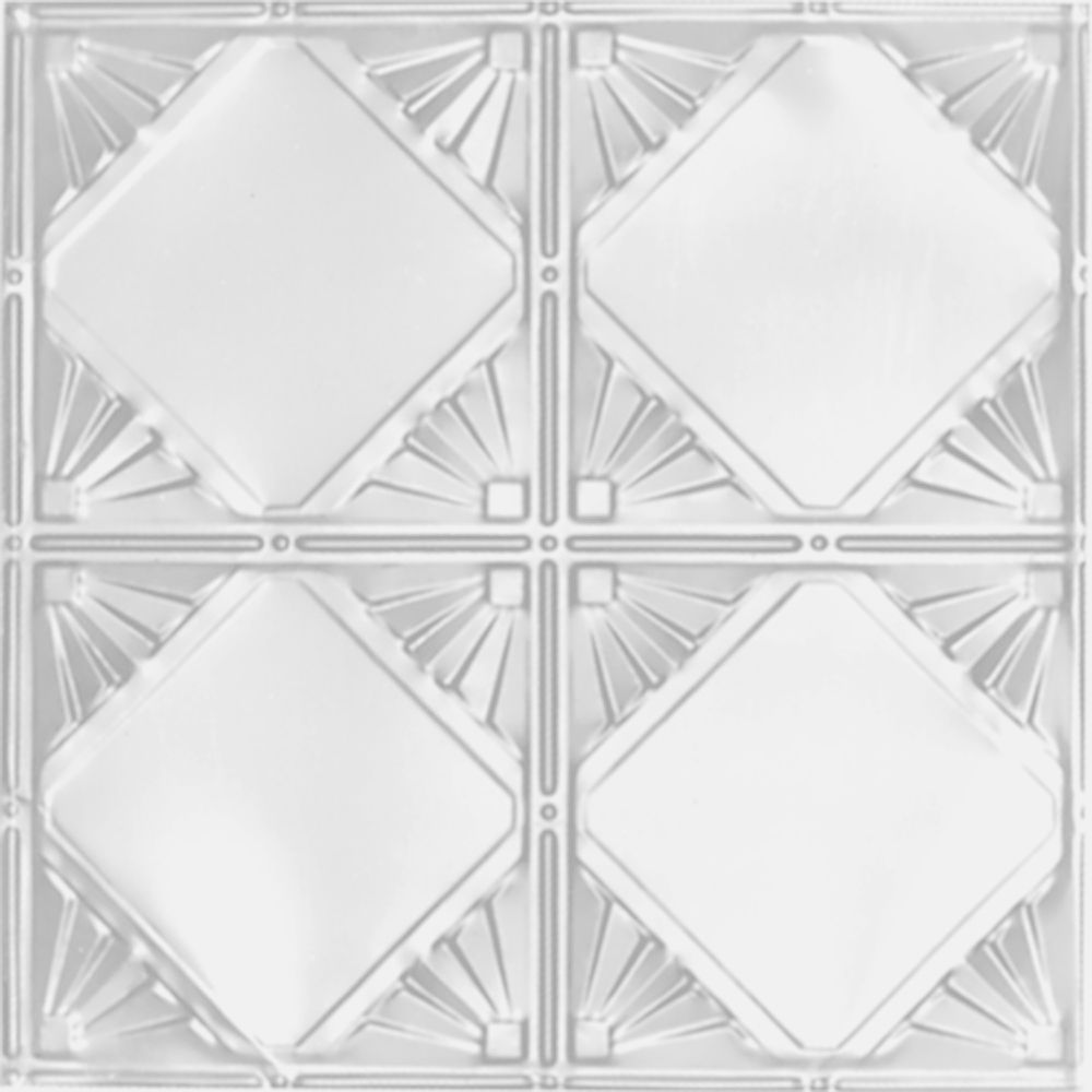 2 Feet x 2 Feet White Finish Steel Lay-In Ceiling Tile  Design Repeat Every 12 Inches