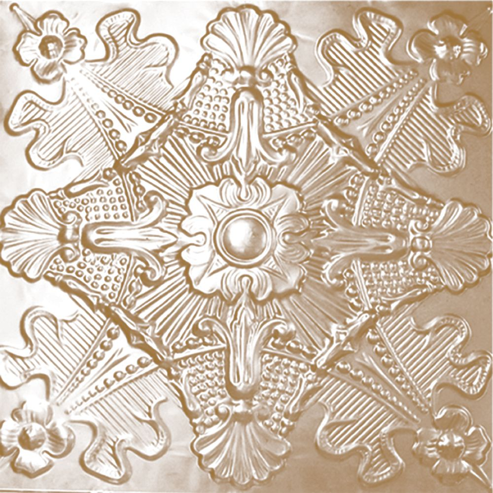 2 Feet x 4 Feet Brass Plated Steel Finish   Nail-Up Ceiling Tile Design Repeat Every 24 Inches