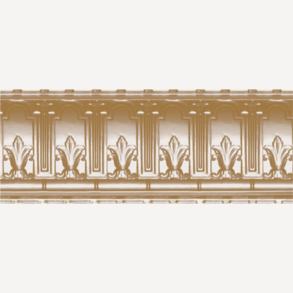 Brass Plated Steel Cornice 9.5  Inches  Projection x 9.5  Inches  Deep x 4 Feet Long