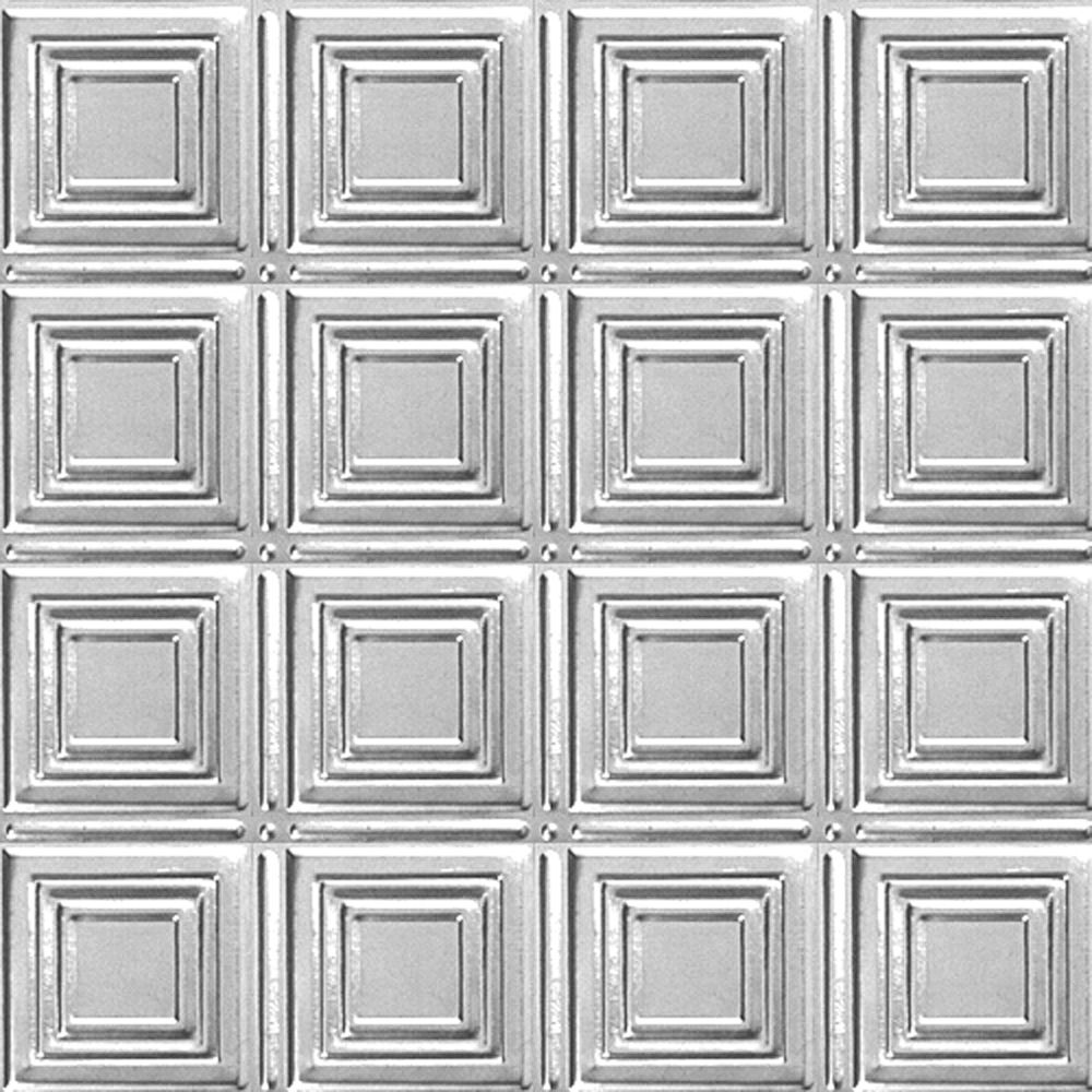 2 Feet x 4 Feet Chrome Plated Steel Nail-Up Ceiling Tile Design Repeat Every 6 Inches