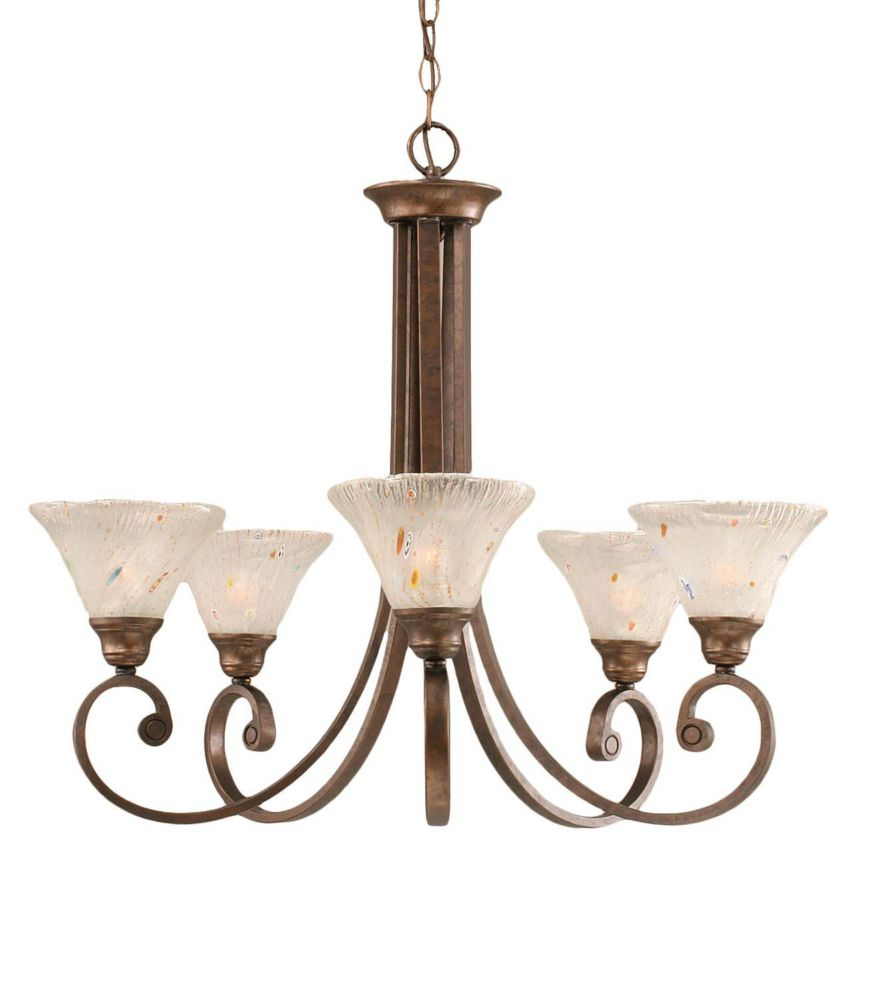 Concord 5 Light Ceiling Bronze Incandescent Chandelier with a Frosted Crystal Glass