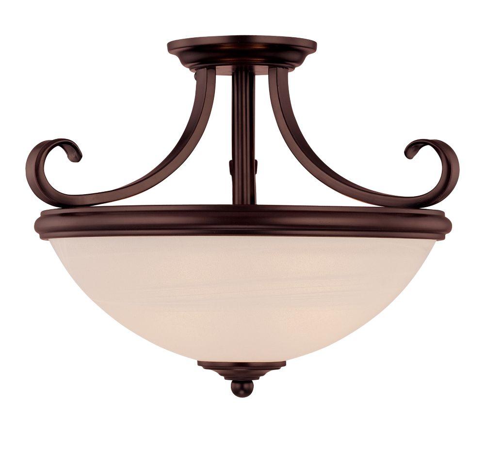 Satin 2-Light Bronze Semi-Flush Mount with White Glass