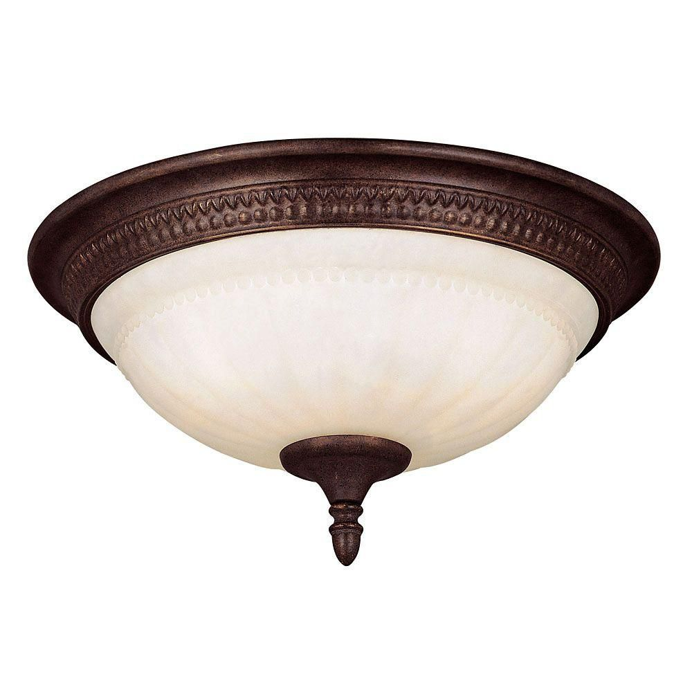 Satin 3-Light Bronze Flush Mount with White Glass