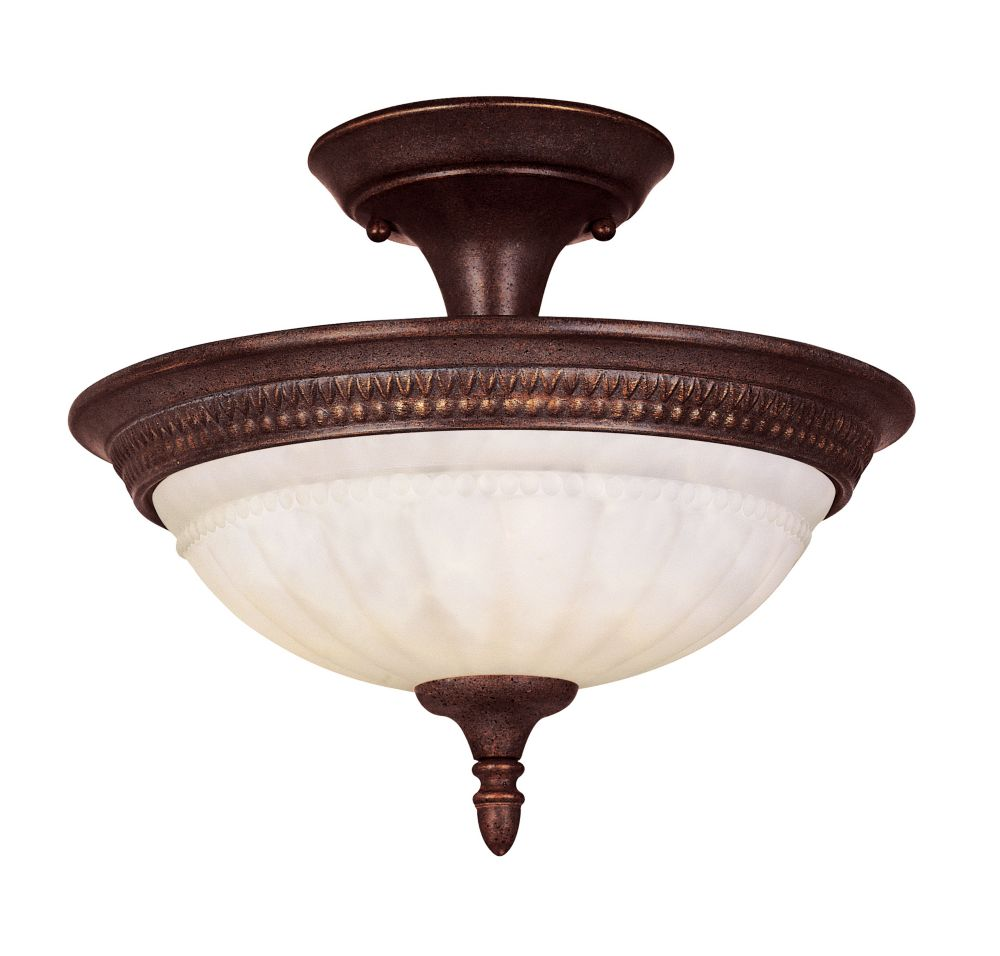 Satin 2-Light Bronze Semi-Flush Mount with White Glass