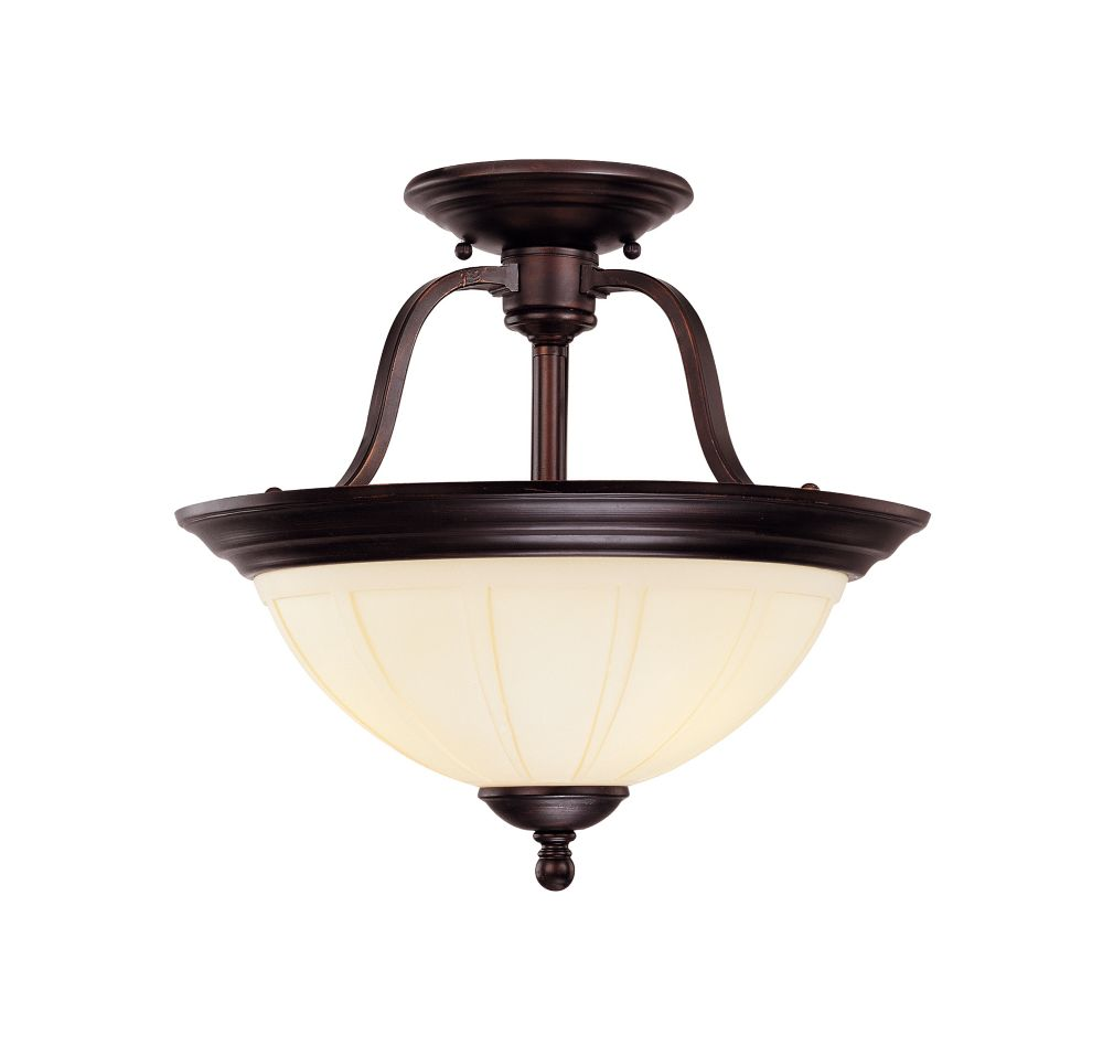 Satin 3-Light Bronze Semi-Flush Mount with White Glass