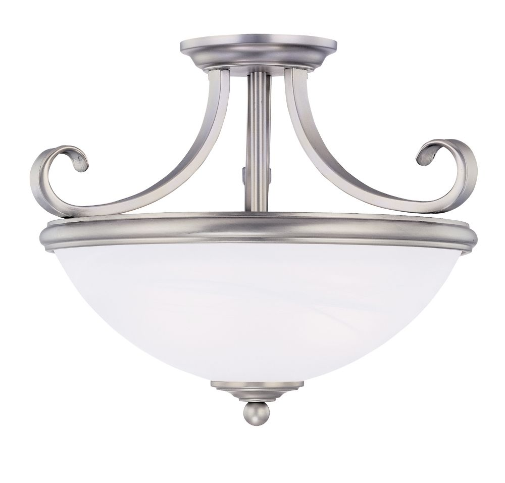 Satin 2-Light Nickel Semi-Flush Mount with White Glass