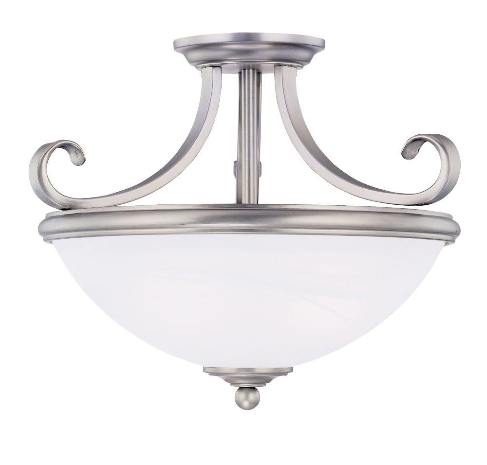 Satin 2-Light Nickel Semi-Flush Mount with White Glass