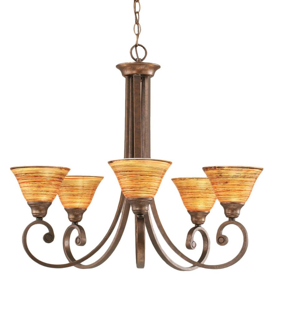 Concord 5-Light Ceiling Bronze Chandelier with a Firré Saturn Glass