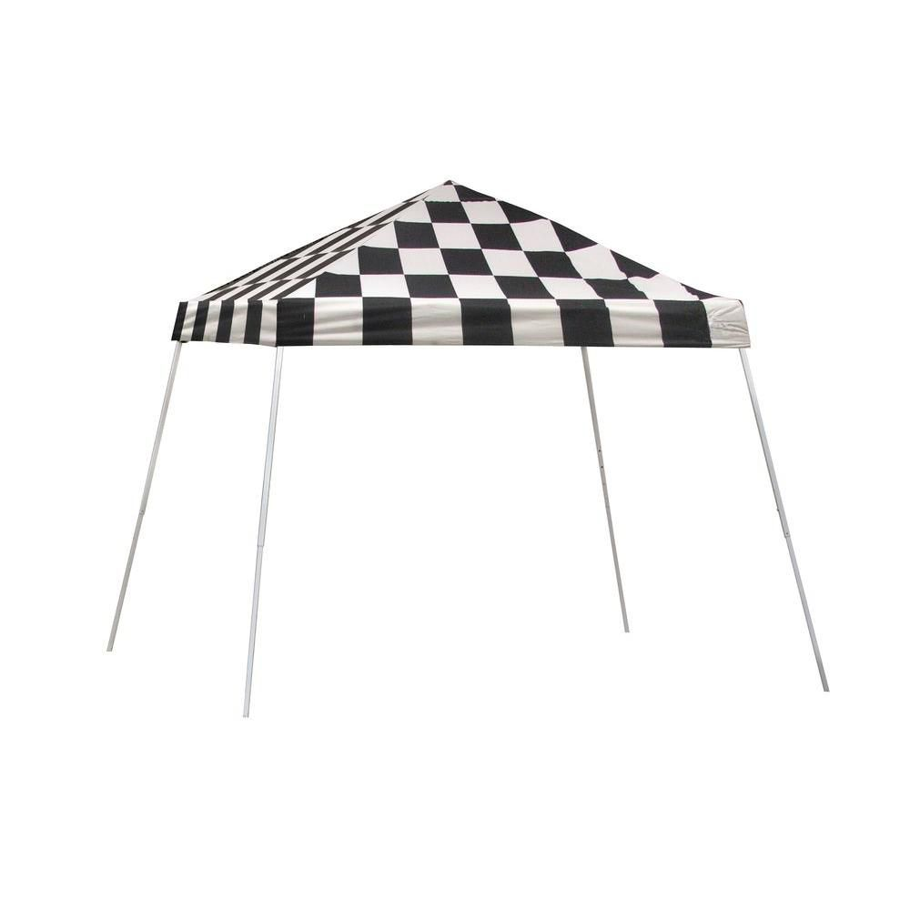 Sport Pop-Up Canopy, 10 x 10, Slant Leg, Checkered Flag Cover with Storage Bag